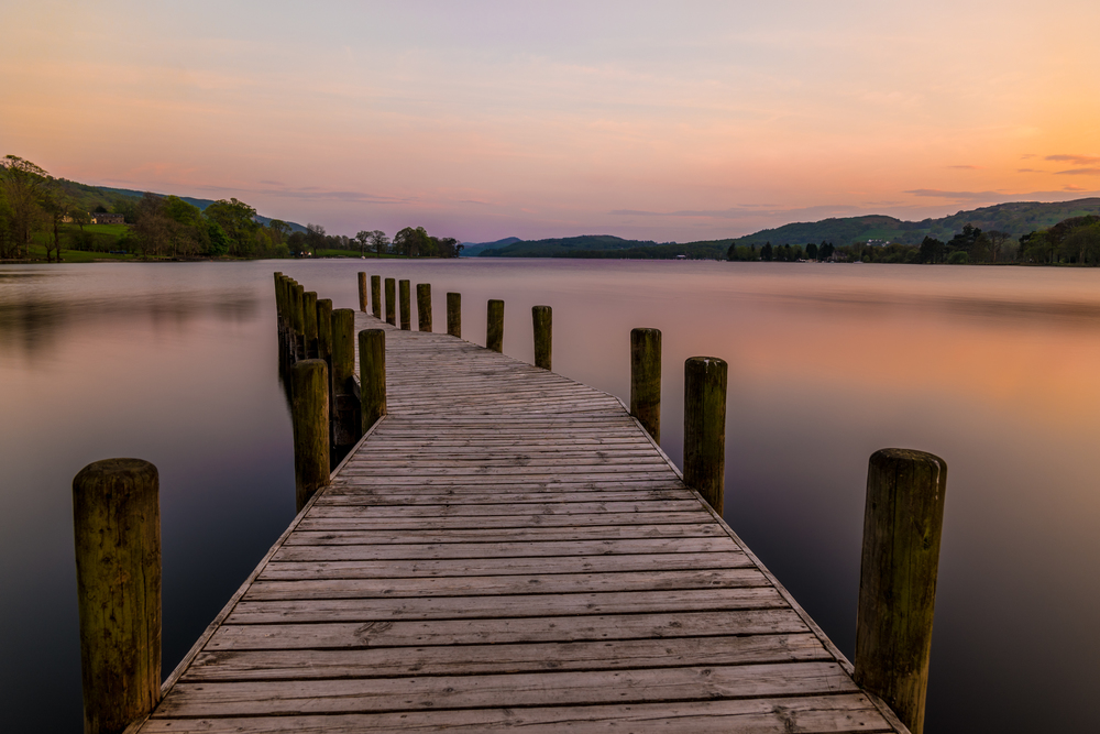 This is a composite image stitched together from several individual photographs. The smooth water is the result of a neutral density filter. Photographed in the Lake District.