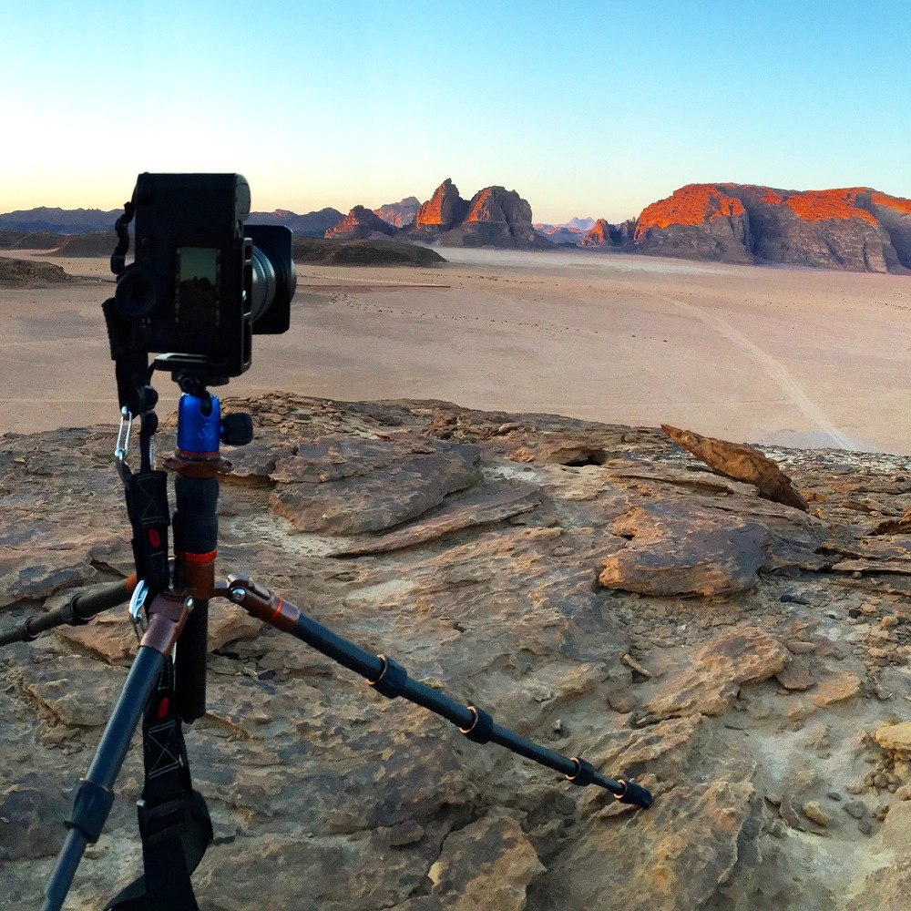 The Leica SL shooting out into the desert of Jordan. The 3 Legged Things tripod is barely able to hold the SL (you can see the legs are bending), but it is a compact travel tripod!
