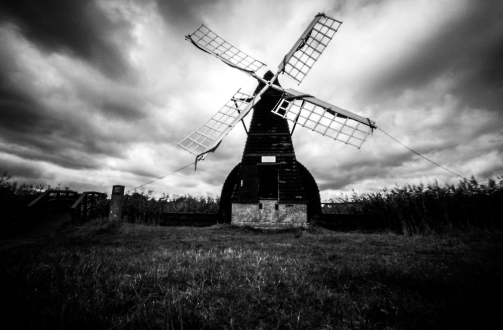 The windmill of Wicken Fen - heavy cloud cover and the natural vignetting of a pinhole camera give this photograph a very dramatic feel