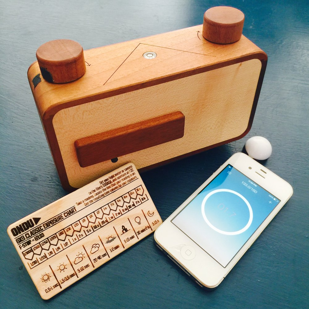 My Ondu 6x9 Pinhole camera with the included Ondu exposure chart - I recycled an old iPhone 4 and turned it into a light meter by adding a Lumu. Take the sim card out, wipe the hard drive, and the battery in an old iPhone lasts a long time!