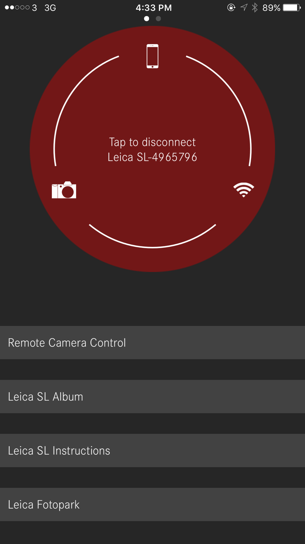 Once connected, you can click the remote camera control button to enable camera operations.