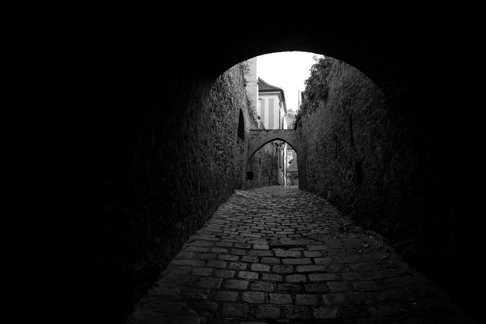 A tunnel on a stone street in Durnstein, Austria.