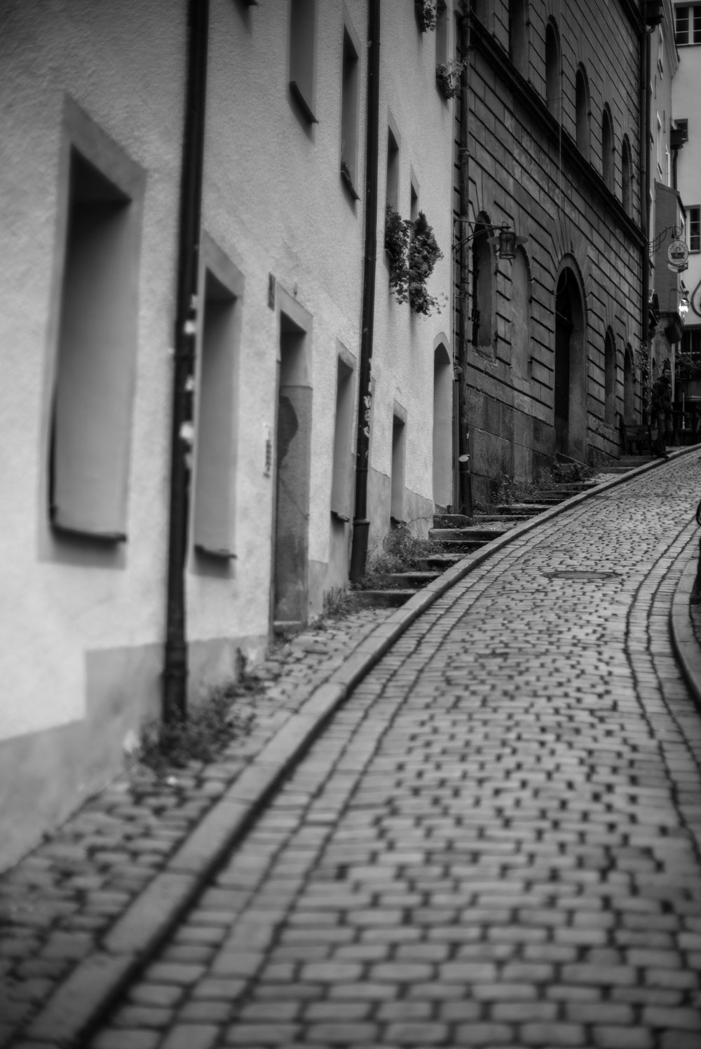 Vanishing street in Regensburg, Germany
