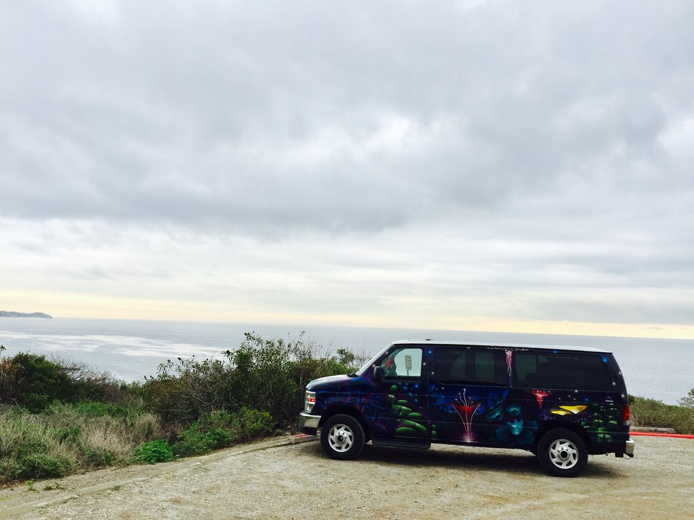 "Our van, which we nicknamed ""Sulley"" on Malibu Beach"