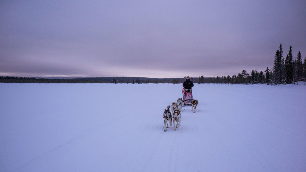 Riding over the frozen lakes
