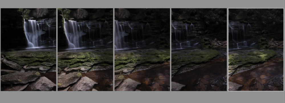 The five photographs that were stitched together to make the final image. They are intentionally underexposed to preserve shadow detail.