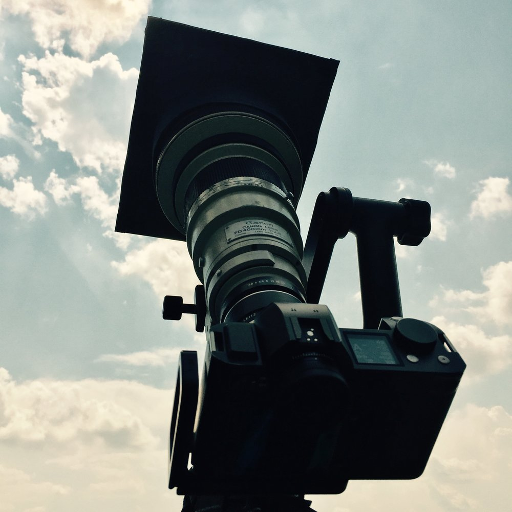 My camera rig pointed up at the sun during the eclipse