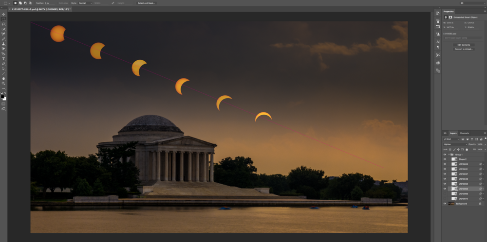 A screenshot from Photoshop of my final image coming together. Notice the pink line I drew the align each of the solar elements as I built the final image.