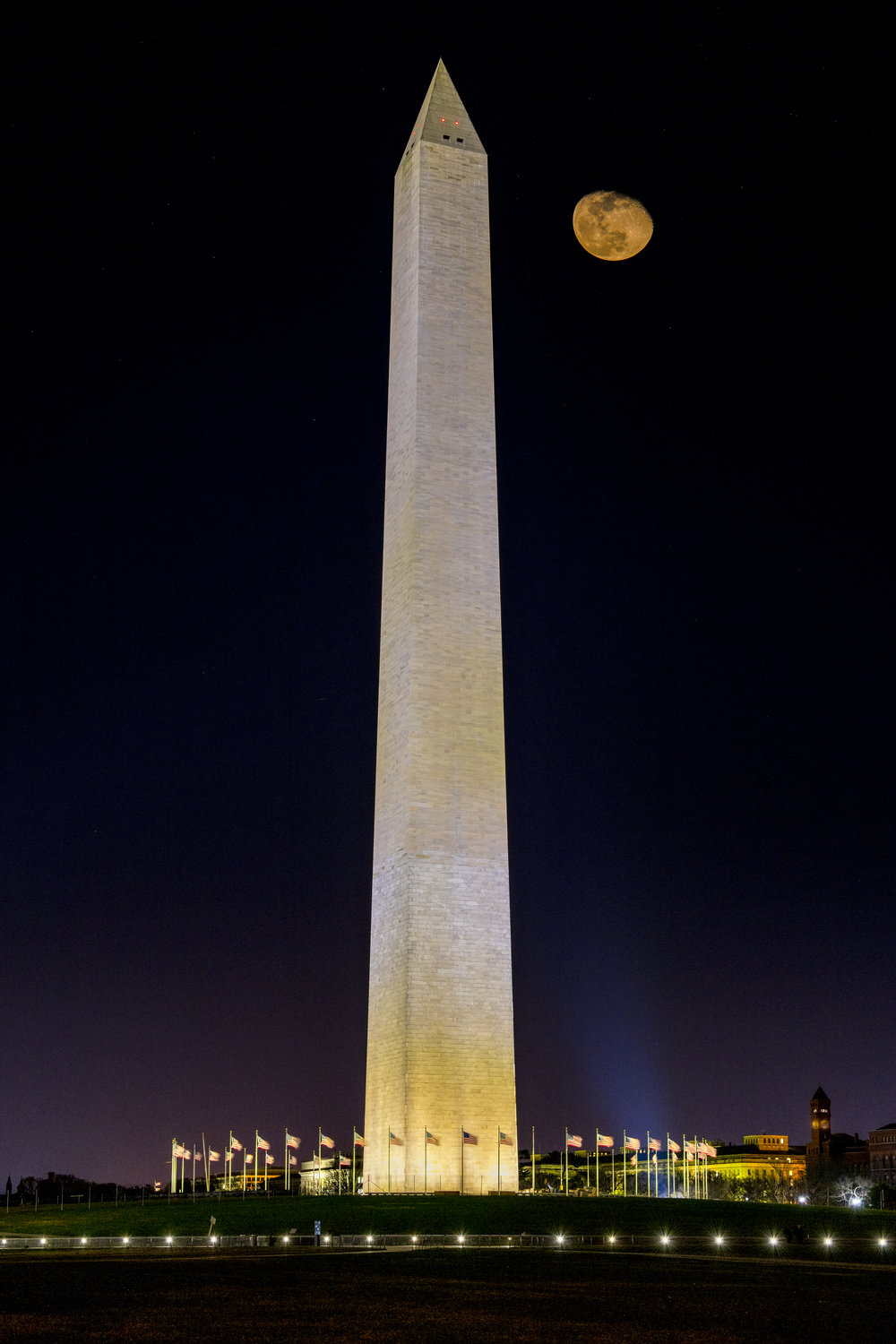Moonrise over the Washington Monument, March 2018