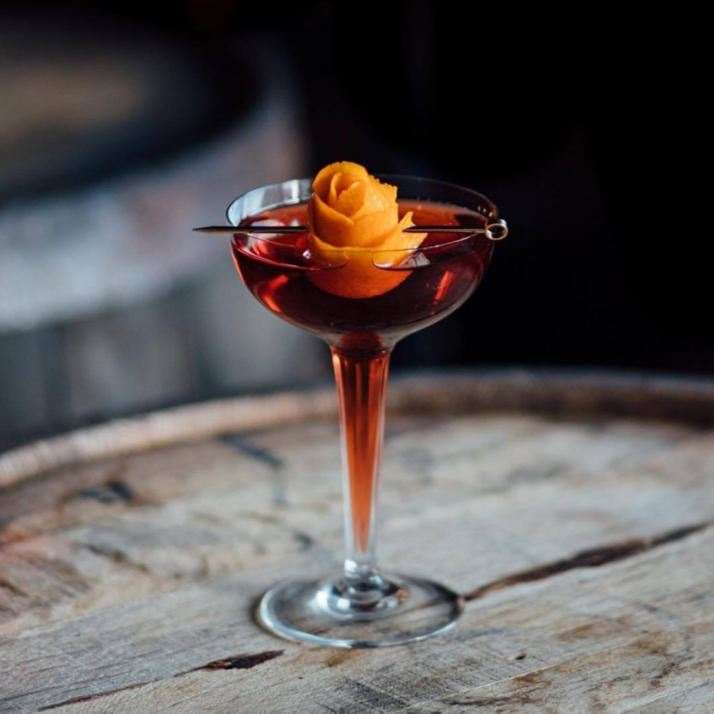 Boulevardier - 1 oz  Waitsburg Bourbon Whiskey1 oz  Cocchi Vermouth1 oz  CampariStir and strain into a Martini StemGarnish with orange peel rose