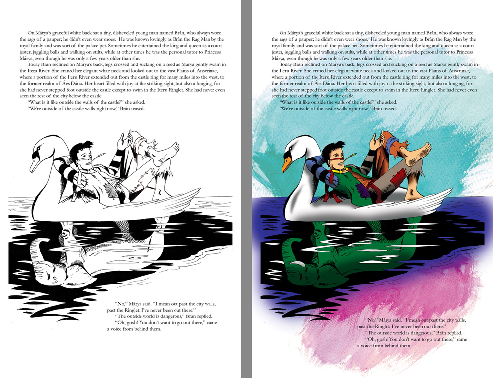 Here's an example of the original page on the left and the colored page on the right. Coloring sure is a laborious process for me, but it does look better in the end. Now I just have to color the other 23 pages...   © Andrew Winegarner