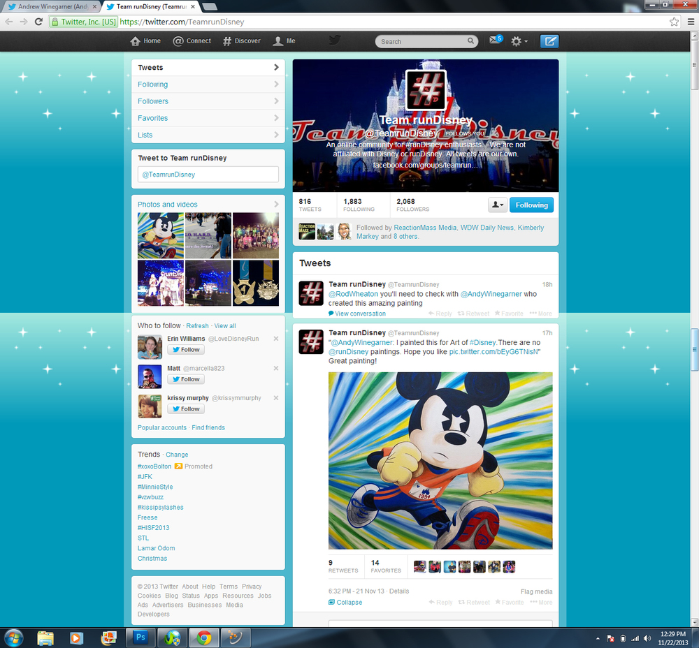 Team runDisney tweeted about my Mickey painting on 11-21-2013!