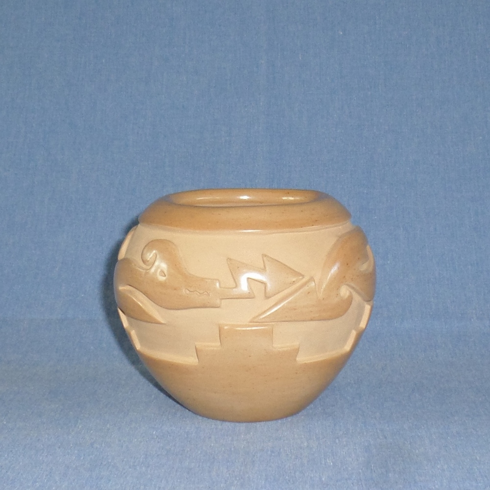 "Golden Avanyu (Water Serpent) Design Bowl  4""H X 4-5/8"" Dia  SOLD"