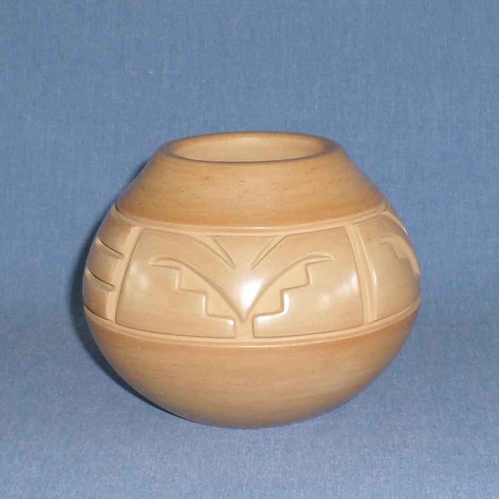 "Golden Jar with Kiva Steps and Nature Designs  4-1/8"" High X 5-1/8"" Dia.  SOLD"