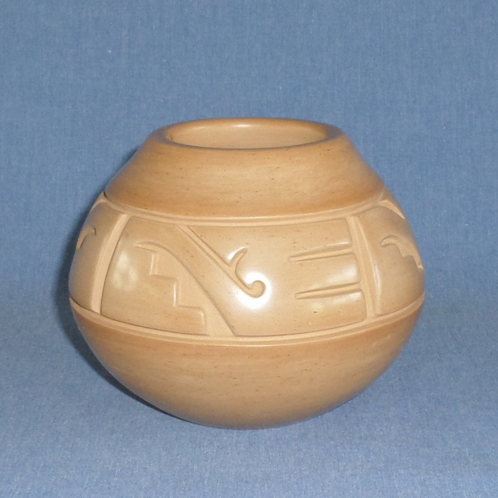 "Golden Jar with Kiva Steps and Nature Designs  4-1/8"" High X 5-1/8"" Dia.  $1,000"