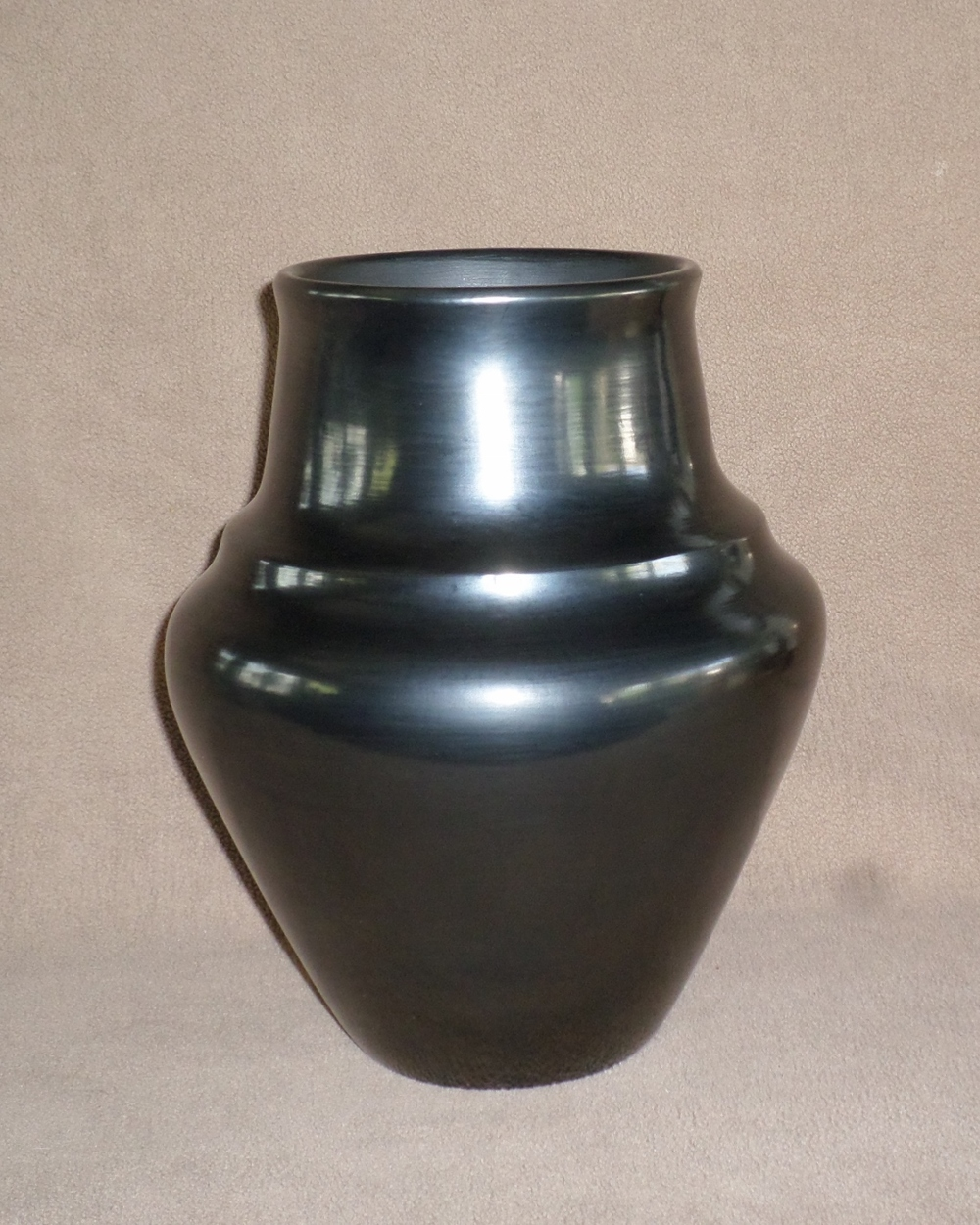 Plain Black Water Jar with Rainbow Band  SOLD