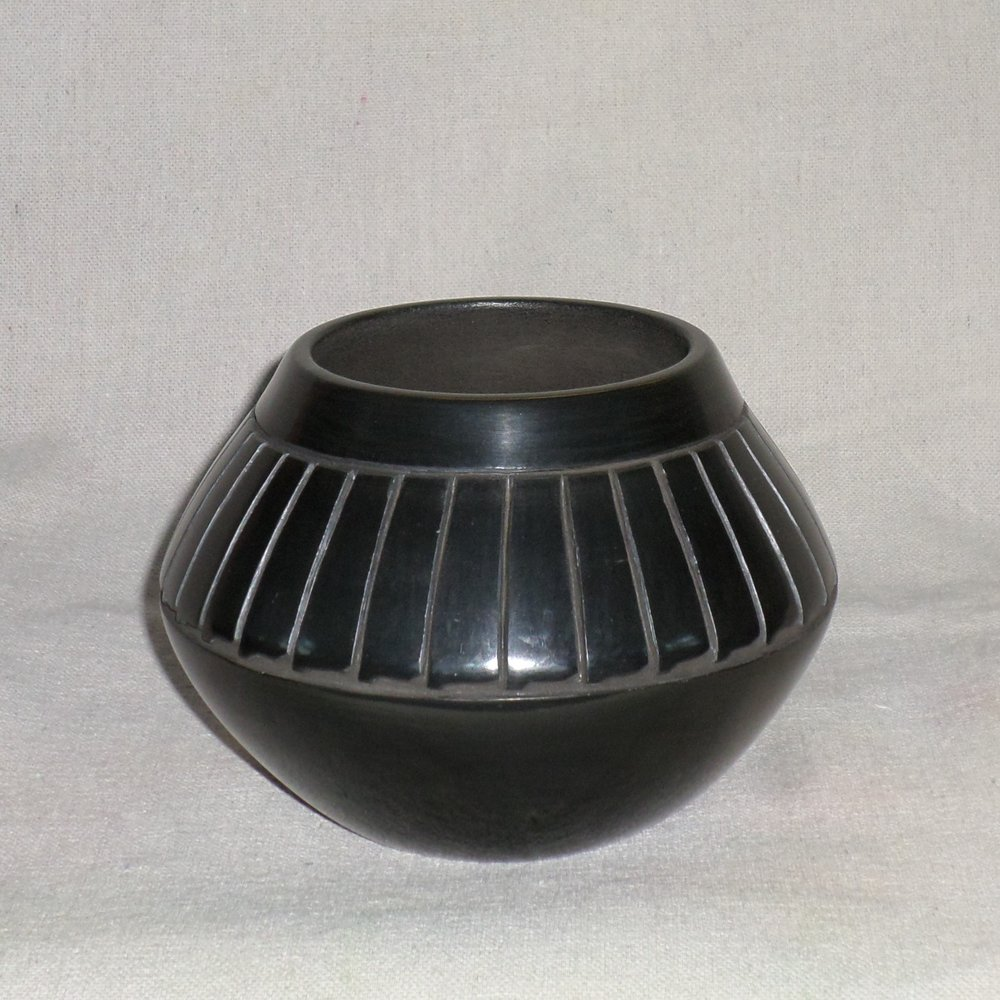 "Black Feather Bowl  4-1/2"" H X 6-1/4"" Dia.  Price:  $350."