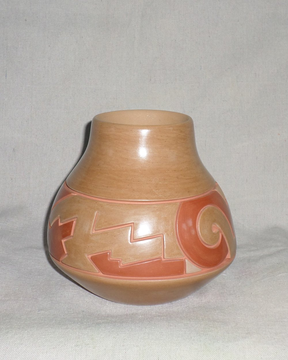 "Red-on-Gold Water Jar with various Nature Designs  6-3/4""H X 7-1/4"" Dia.  Price:  $1,200."
