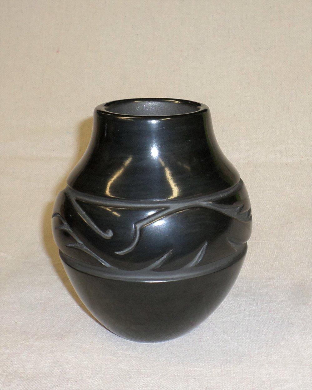 "Black Avanyu Jar 5-7/8""H X 5"" Dia. $1,800."