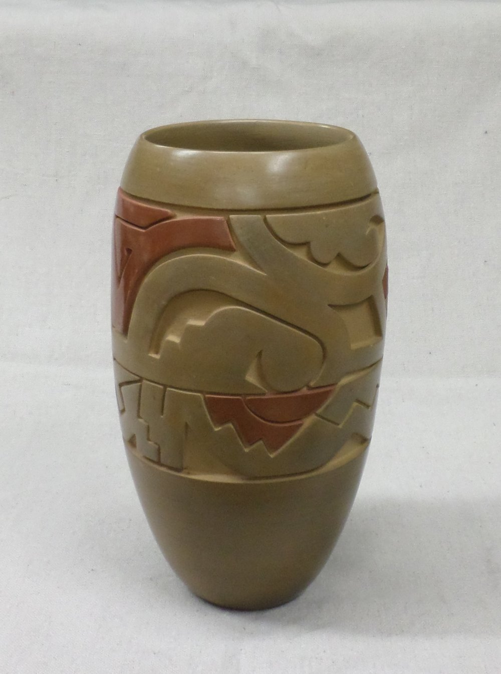 "Red - on - Gold Vase with various designs representing a storm including lightning, clouds, rain, water and phases of the moon  9-1/2"" H X 5-1/2"" Dia.  SOLD"