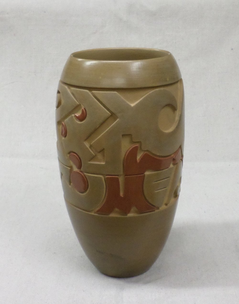 "Red - on - Gold Vase with various designs representing a storm including lightning, clouds, rain, water and phases of the moon  9-1/2"" H X 5-1/2"" Dia.  Price:  $1,800."