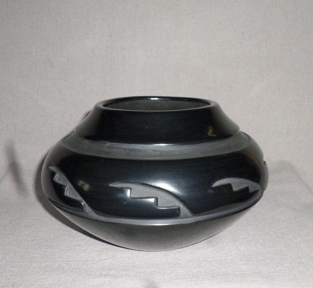 "Black carved Kiva Step Desjgn Jar  5-1/4"" H X 8-3/8"" Dia.  SOLD"