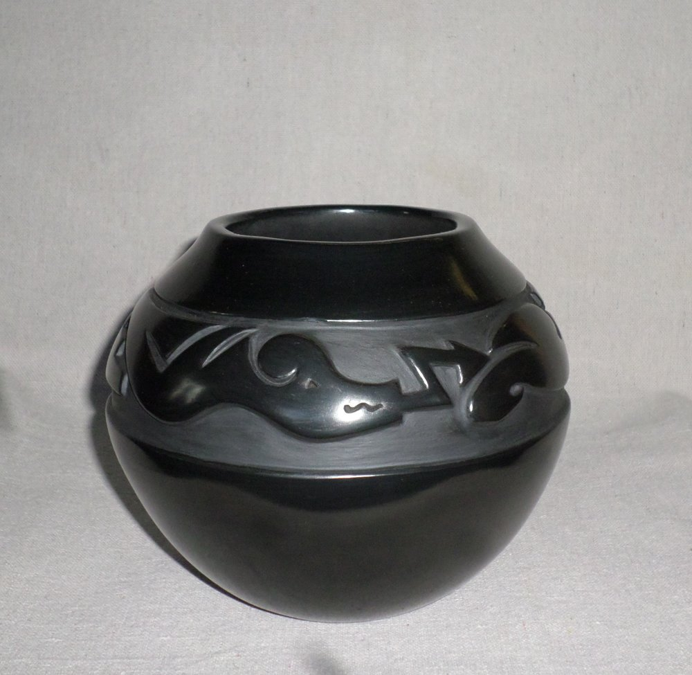 "Black Jar with Two Avanyu Designs   5-7/8"" H X 7-1/8"" Dia.  SOLD"