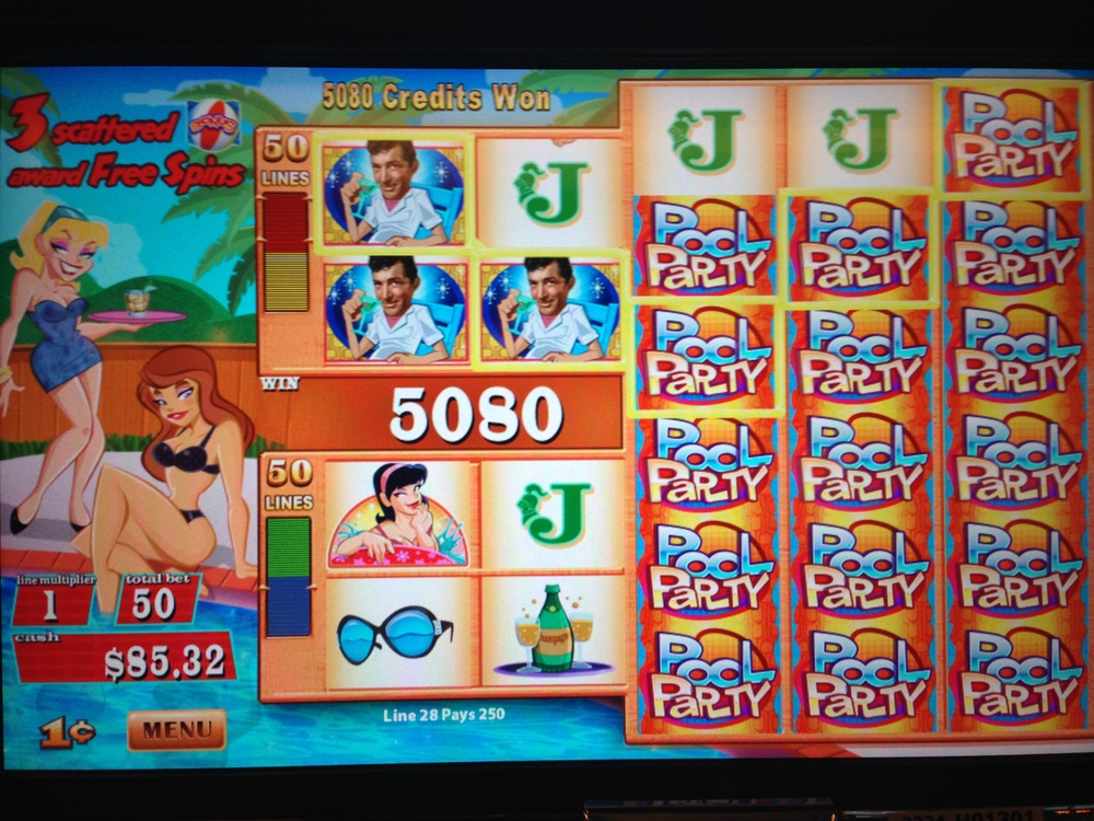 Dean Martin's Pool Party is a mid century modern themed Rat Pack slot with nice bonus features.