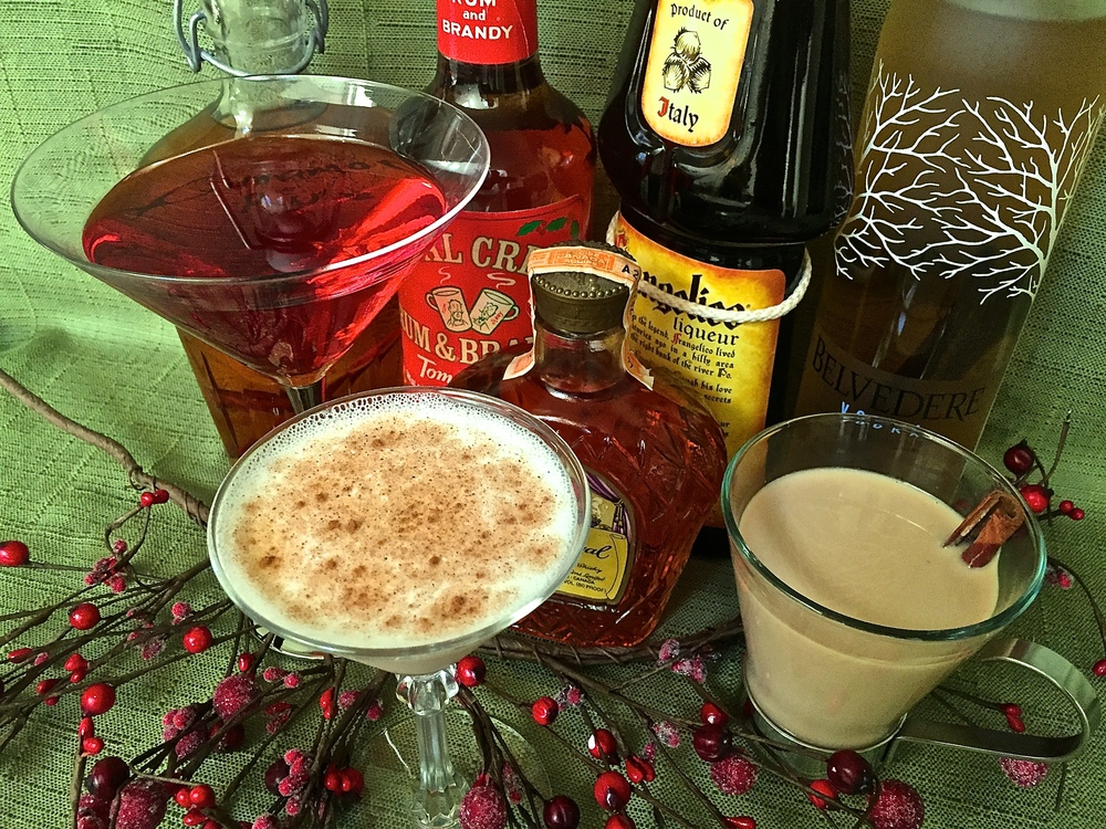 From left to right: vanilla vodka with macadamia liquor and splash of cranberry juice, Brandy with Frangelico and egg white topped with nutmeg, spiced rum with kahlua and cream served warm.