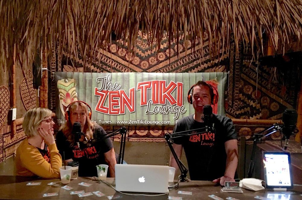 Starshine, Kalani and Sunshine behind the bar at Don the Beachcomber recording a very festive podcast.