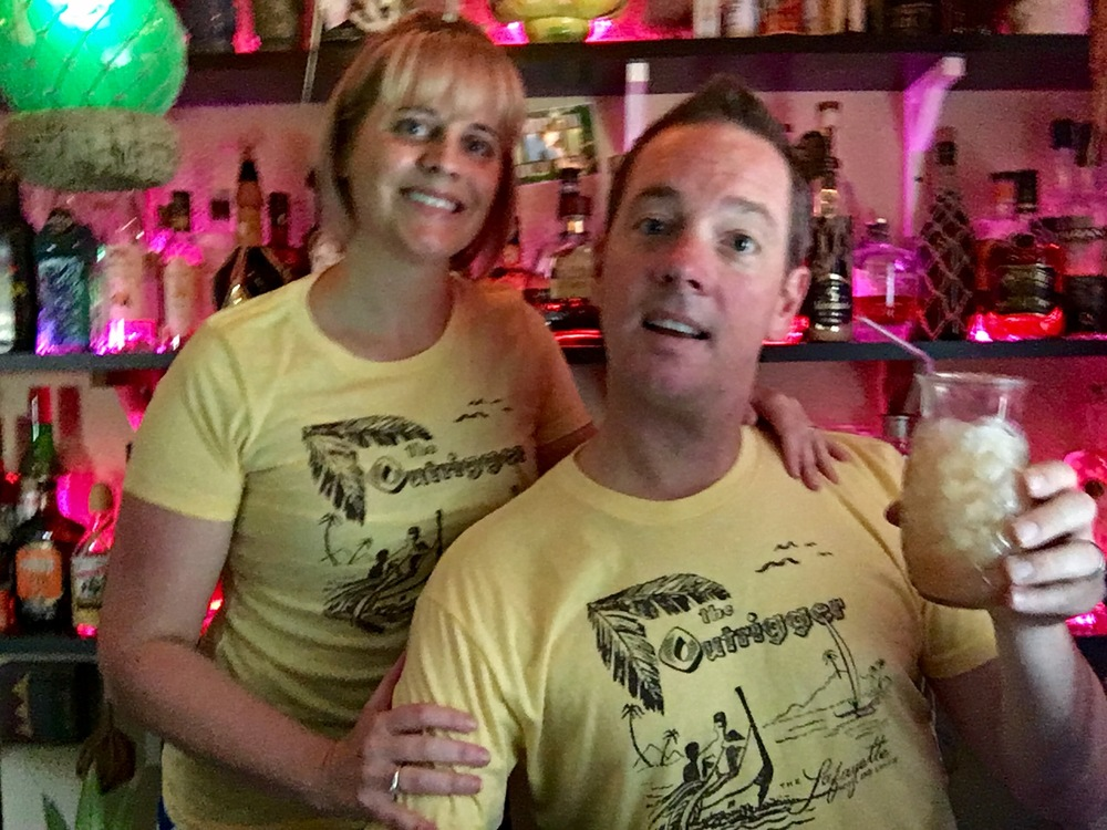 Starshine and Sunshine showing off the latest t-shirt from Tiki Bar T-Shirt Club.  Vintage designs from the old tiki bars and lounges we all miss.  www.tikibartshirtclub.com