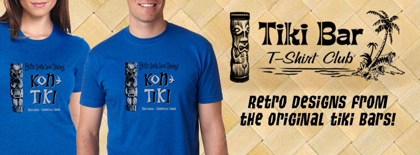 Each and every month Tiki Bar T-Shirt Club brings you a new vintage tiki bar design.  Great quality shirts, soft cotton for men and women and a little tiki history with each one.  Delivered right to your door.  Or, give a 3, 6 or 12 month subscription as a gift.  We love Tiki Bar T-Shirt Club.