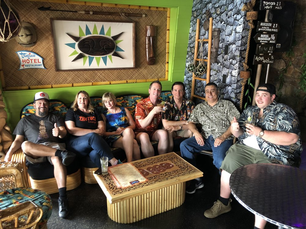 From Left: Andy Tolley, Kalani Tiki, Starshine Tiki, Sunshine Tiki, Rory Snyder, Marty Lush, Nicholas Correia