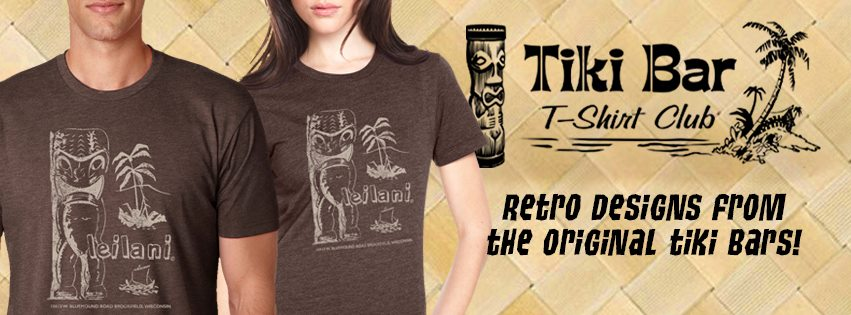 WHEN YOU AREN'T WEARING A LUAU SHIRT YOU WANT TO PUT ON A NICE TIKI T-SHIRT. TIKI BAR T-SHIRT CLUB AS A NEW DESIGN EACH AND EVERY MONTH.  EVERY SHIRT IS LIKE TIKI BAR ARCHEOLOGY, TAKING US BACK TO A BAR OR RESTAURANT THAT HAS LONG SINCE CLOSED BUT CAN LIVE IN OUR MEMORIES. SUBSCRIBE AND GET A NEW SHIRT EVERY MONTH OR BUY JUST THE ONES YOU WANT.