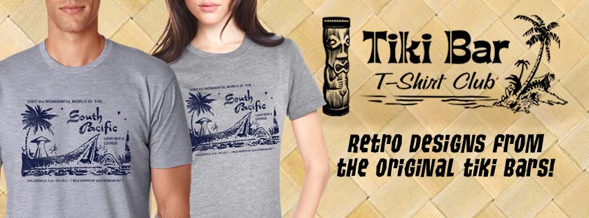 We love  Tiki Bar T-shirt Club . Get a new tiki bar shirt every month delivered right to you. Buy one, or subscribe and get them monthly. All of us at ZTL proudly wear our Tiki Bar T-shirt Club shirts and enjoy telling people where to get theirs.