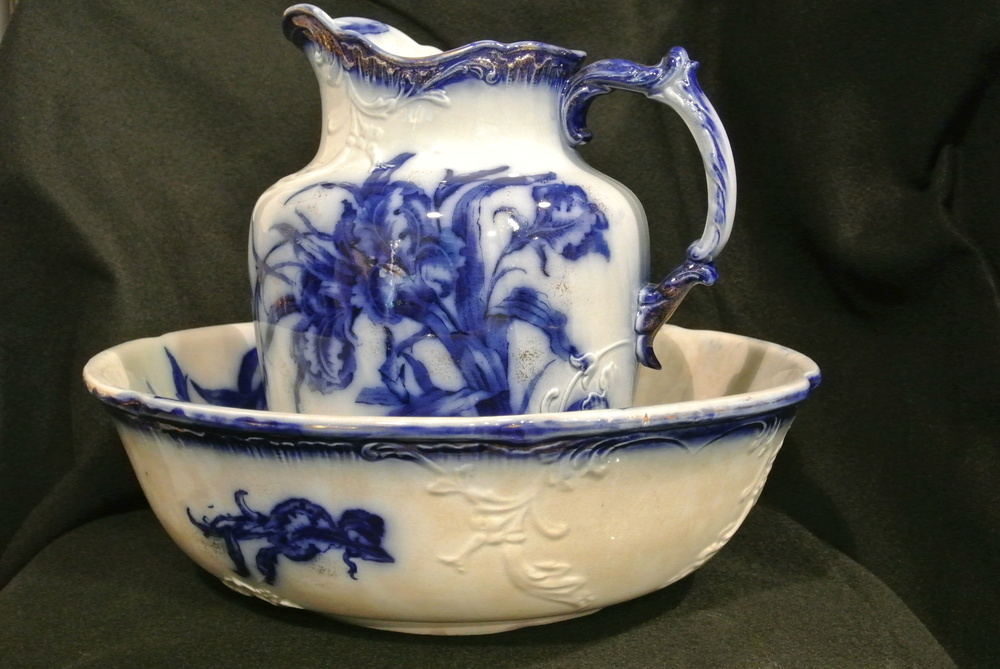 Flow Blue Pitcher and Wash Basin from a California Estate
