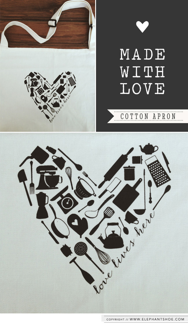 "The ""love lives here"" kitchen utensil heart design we created and screen printed onto each cotton apron."