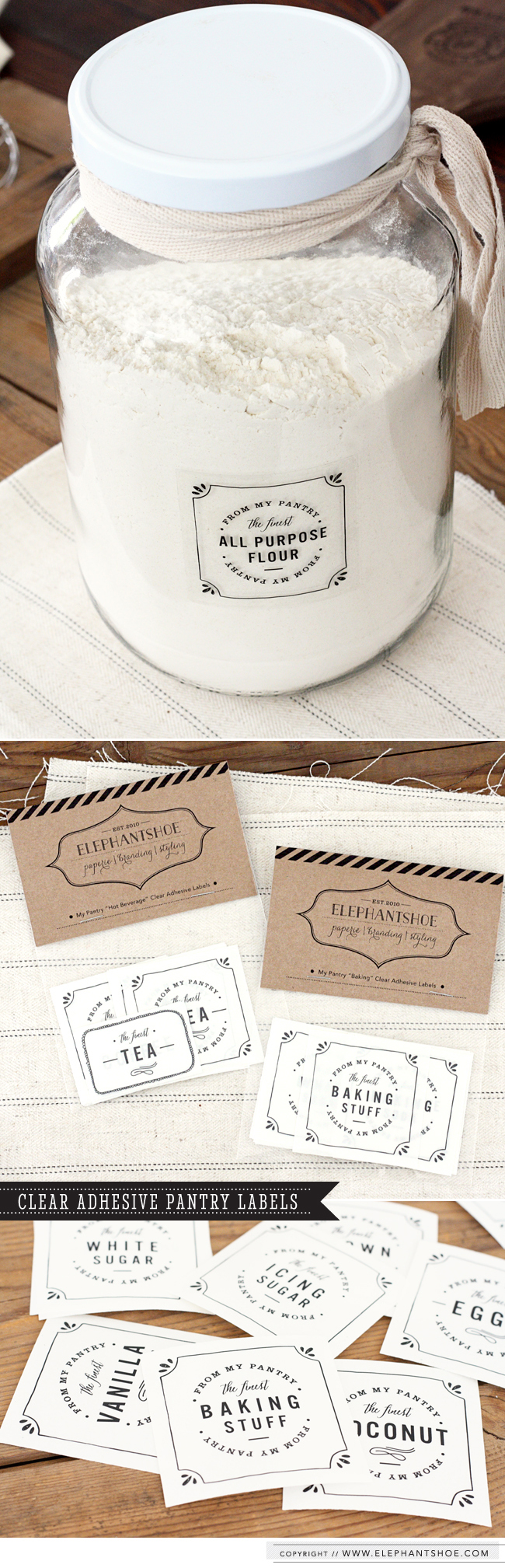 Pantry adhesive Label Elephantshoe