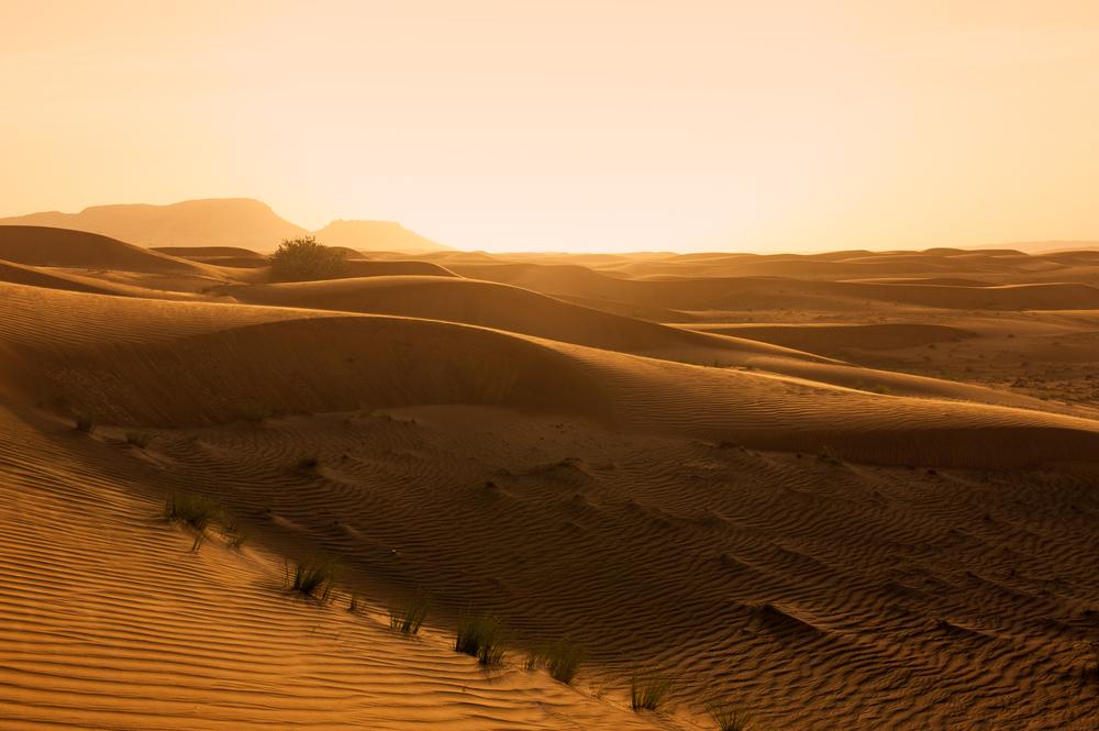 Sunset in Sandstorm - Dubai, UAE