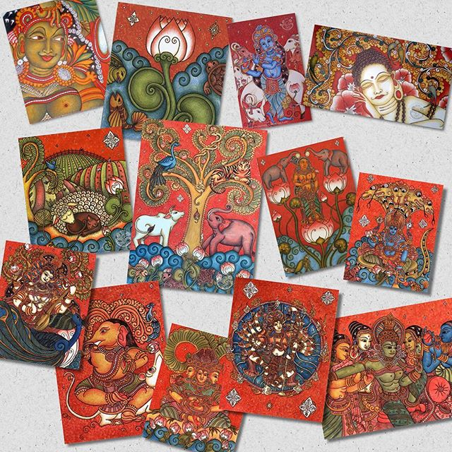 "#greetingcards #keralamural #Paintings #Etsy www.etsy.com/shop/SFKcreate #hindu #deities #goddesses5"" x 7"" Greeting Cards of my Paintings Now Available in my Etsy shop! Also a perfect size for framing. www.etsy.com/shop/SFKcreate #hindugoddesses #ganesh #ganesha #shiva #hindu #hinduism #deities #saraswati #kali #parvati #vishnu #krishna #lotus #yakshi #treeoflife #sheep"