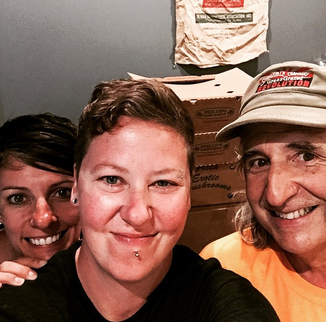 Jen & Anne with Kip from Green Edge Farms.  He supplies us with eggs, herbs and mushrooms among other delicious produce.