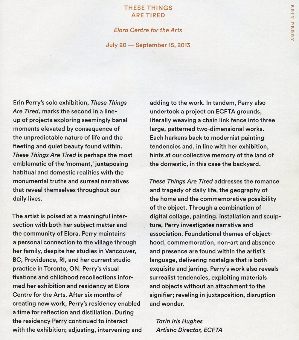 publications erin perry essay by tarin iris hughes these things are tired nbsp catalogue 2013 roundtable discussion