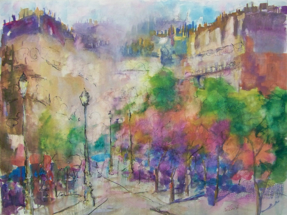Nellsmith _Le Square Rene Viviani, Paris_  2012 watercolor on paper 20.5_H X 27.5_W (unframed) 28_H X 35_W (matted and framed).jpg