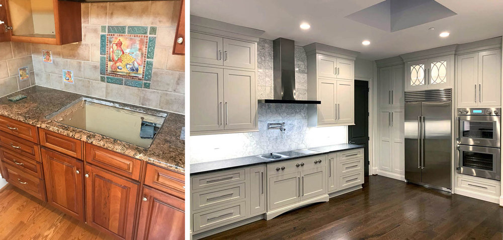 Kitchen finishes: before & after