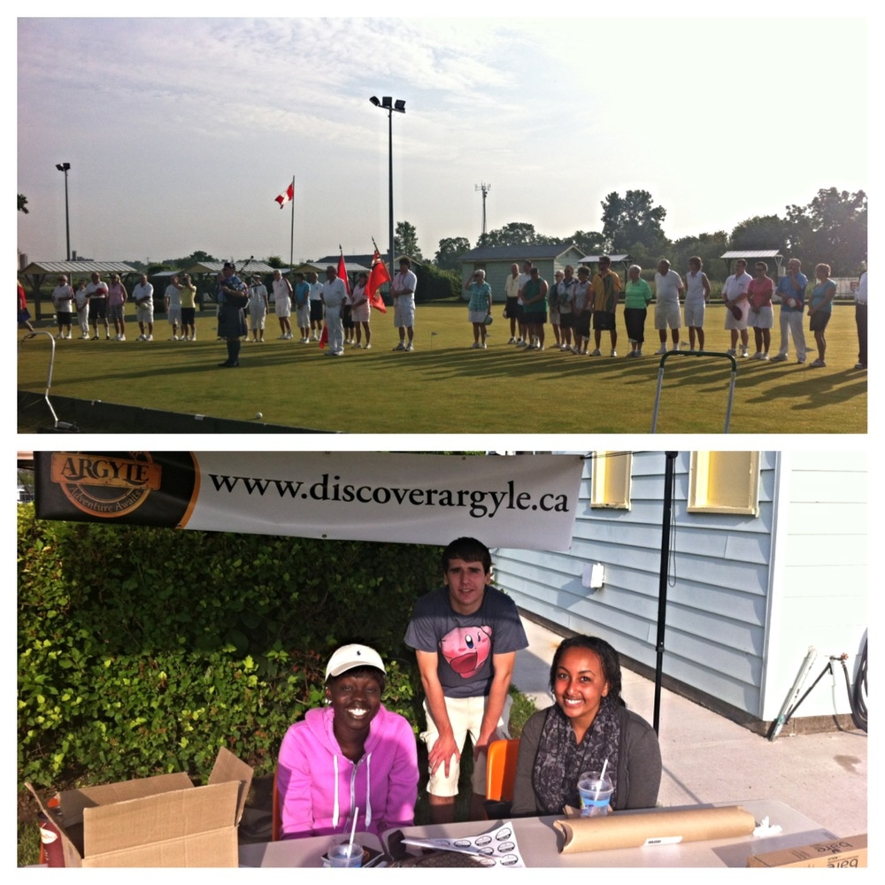 Eric, Akuluel, and Faben (an Event Crew volunteer) manning the booth & the Opening Ceremonies event