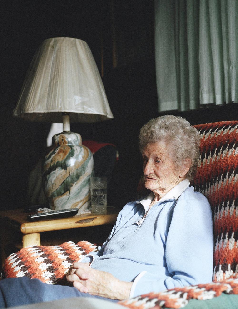 Dott Young, the oldest member in Wanship, population 400.  December 2014.