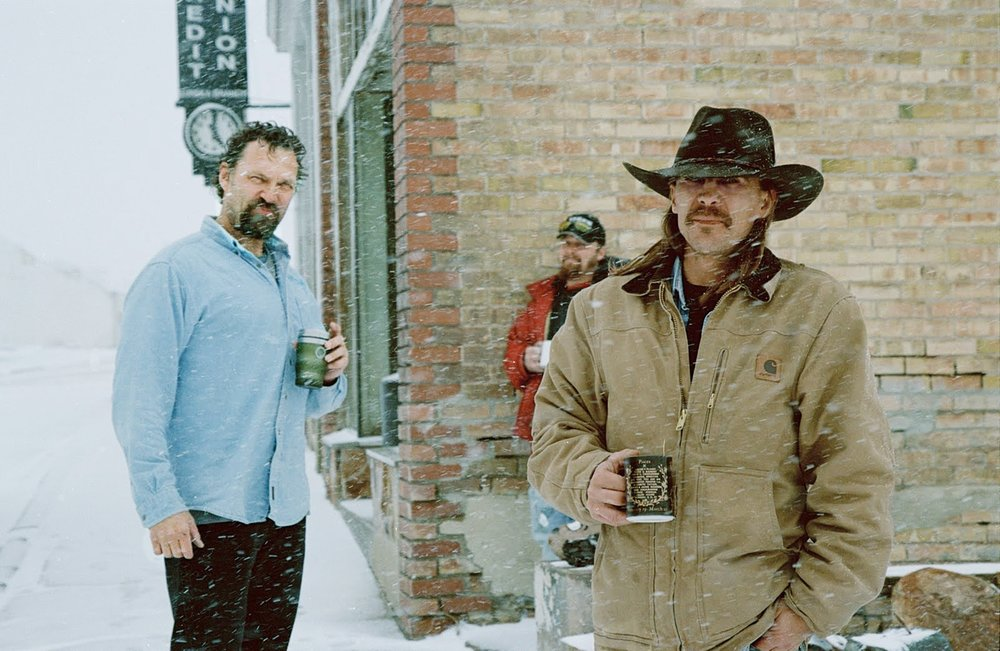 Three men out for a cup of coffee during a blizzard. Eureka, population 682.  Winter 2010.