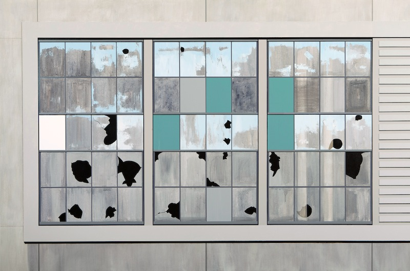 Gates Factory Window #4 (Grid with Green)  by Sarah McKenzie | Oil and acrylic on canvas
