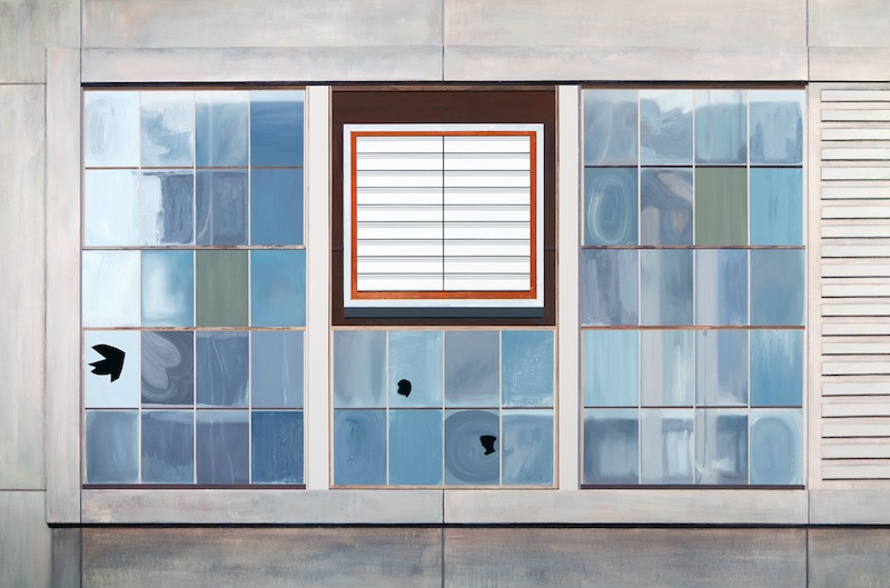 Gates Factory Window #1 (Grid with Vent)  by Sarah McKenzie | Oil and acrylic on canvas