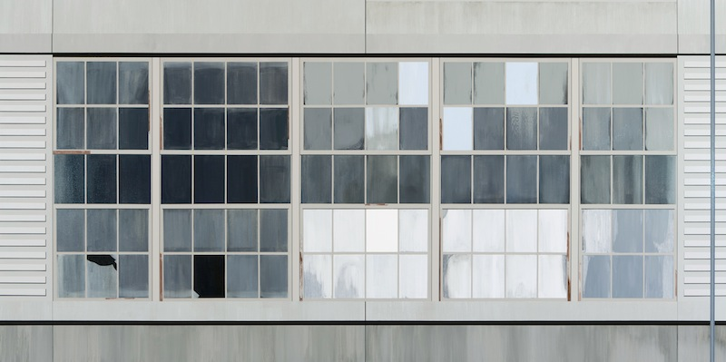 Gates Factory Window #5 (Long Grid With Pole)  by Sarah McKenzie | Oil and acrylic on canvas
